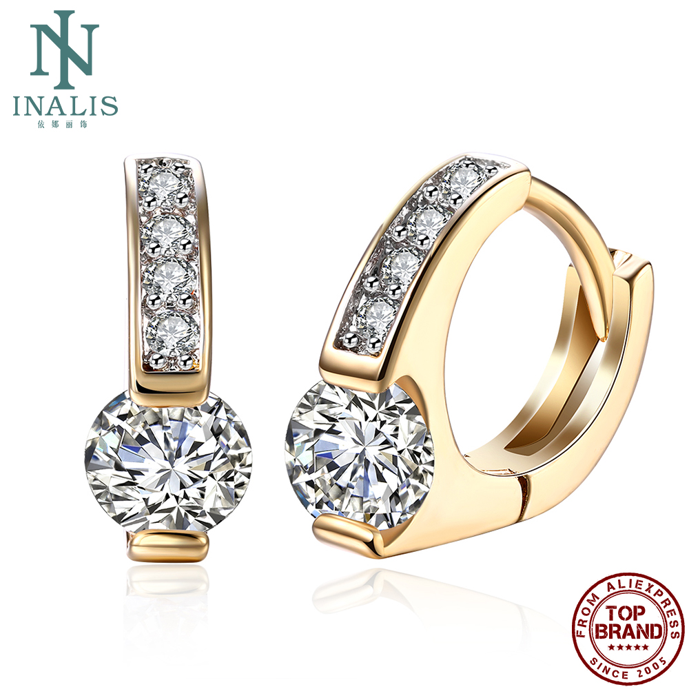 INALIS Clip Earrings Girls Romantic Style With Round Cubic Zirconia Earring Engagement Simple Gift Fashion Jewelry Recommend New