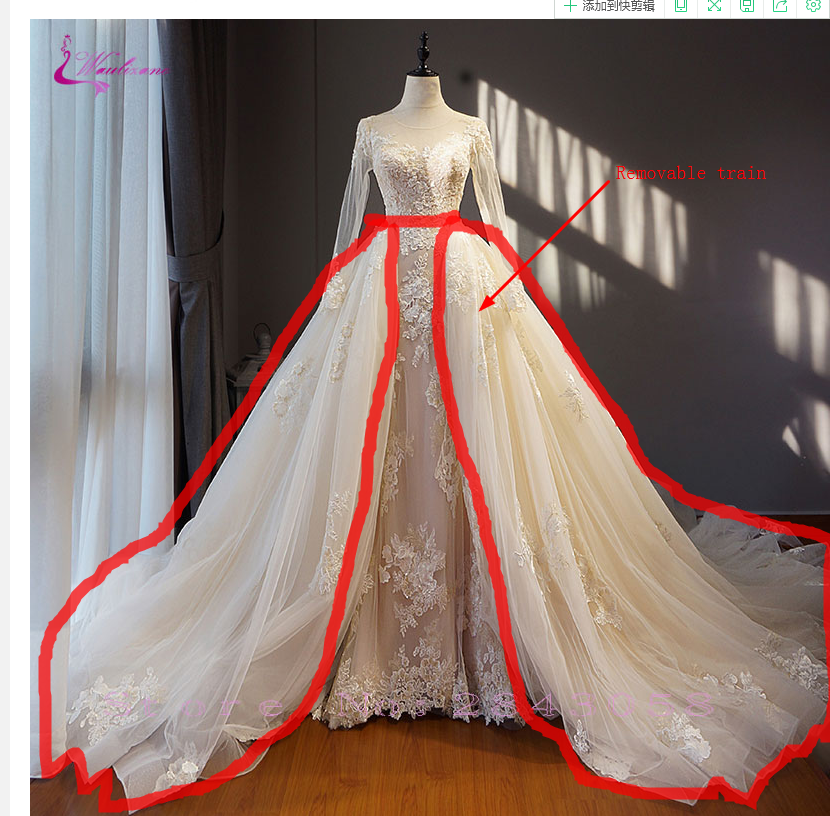 Waulizane Custom Made Link Of 2 Meters Removable Train  Formal Dresses According To Cutsomer's Request 2020