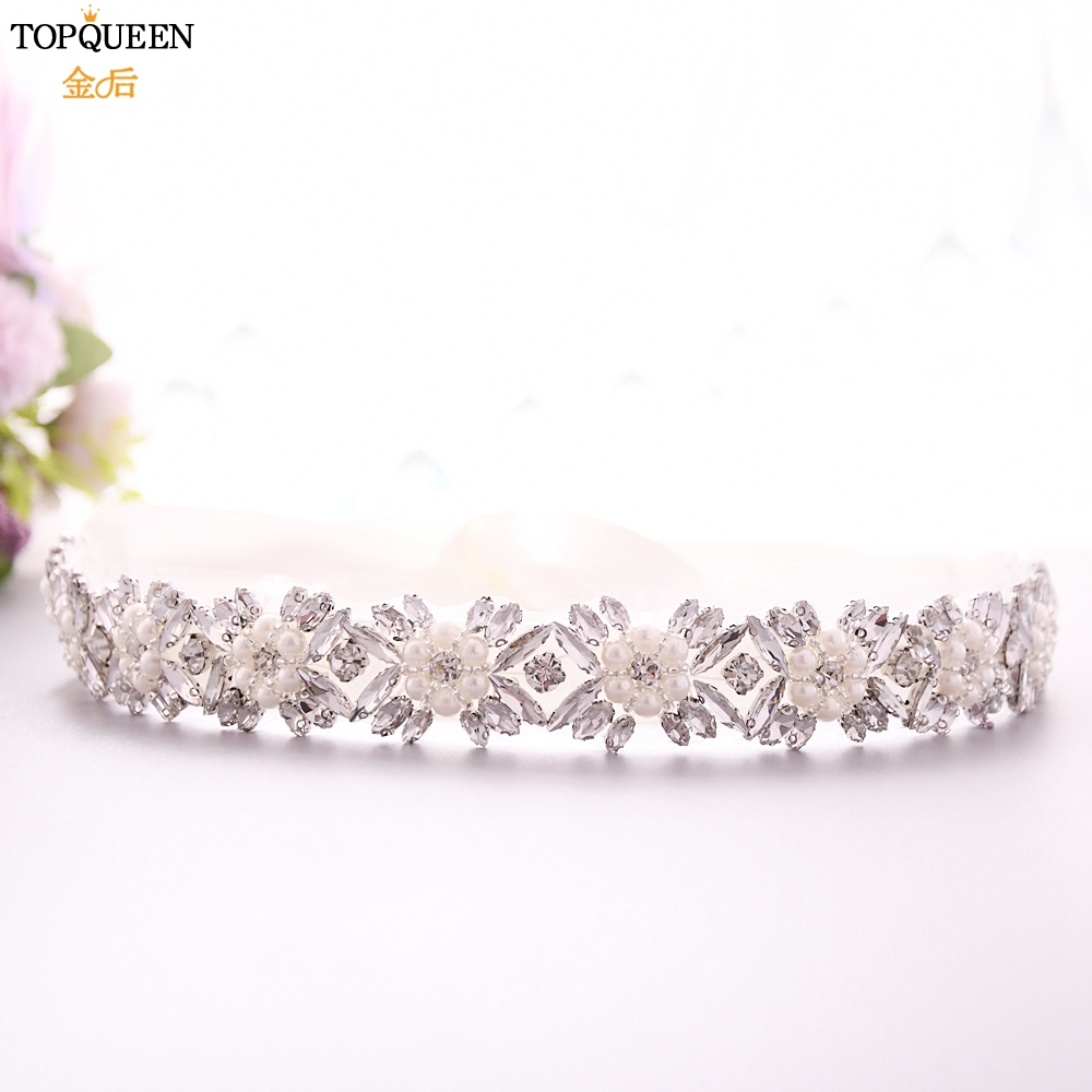 TOPQUEEN Pearl And Rhinestone Belt For Wedding Dress Silver Shiny Belt Cinch Belt With Cristals Gorgeous Bridesmaids Belt S449