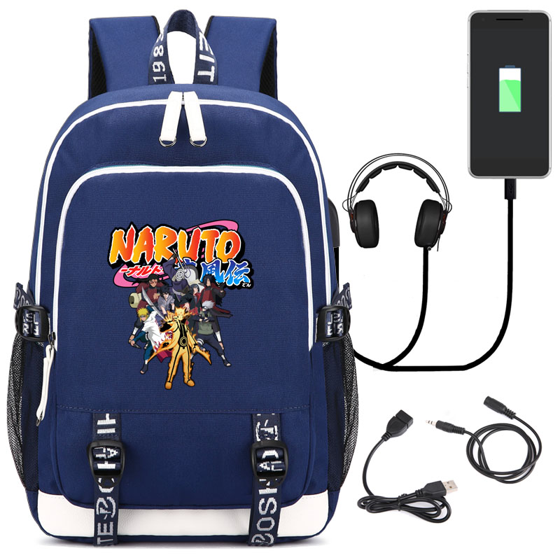 HONHUIQIXIN NARUTO Uchiha Clan School Bag Japanese Anime Backpack With USB Charging Port And Lock &Headphone Interface Daypack