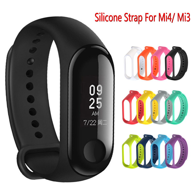 Silicone Strap Mi Band 4 Accessories Pulseira Miband 3 4 Strap Replacement Silicone Wriststrap For Xiaomi Mi4 Mi3 Smart Bracelet