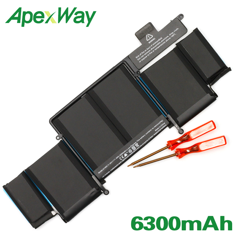 ApexWay 11.34V 71.8WH A1493 Laptop Battery For Apple MacBook Pro Retina 13