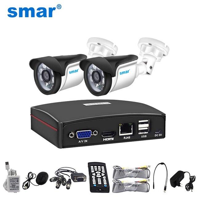 Smar 4ch 1080n 5 em 1 ahd dvr kit sistema de cctv 2 pçs 720p/1080p ir ahd câmera ao ar livre à prova dwaterproof água dia & noite kit câmera segurança