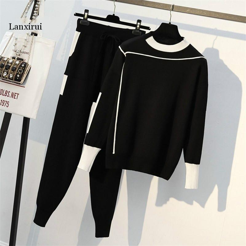 New Female Sping Autumn Knitted Sportsuit Long Sleeve Pullover + Full Length 2 Pcs Set Korean Fashion Pathwork Women Set