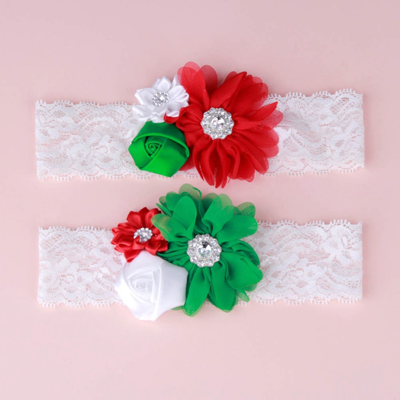 Christmas Baby Headband Flower Girls Lace Headband Baby Christmas Head Flower Stretch Lace Flowers Christmas Headwear