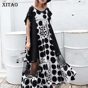 Женское платье-миди XITAO, Сетчатое платье с заклепками и коротким рукавом, модель DLL3570 большого размера на лето, 2019