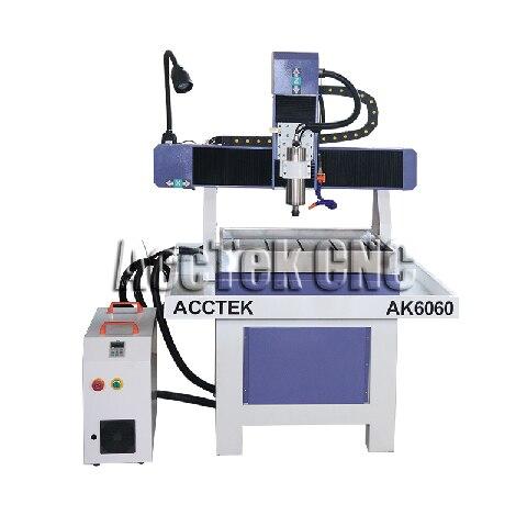 Jinan ACCTEK 6060 Taiwan HIWIN Square Rails Cnc Router Water Coled Metal Engraving Machine