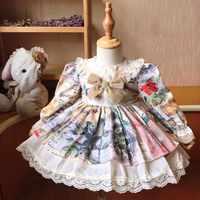 Vestido Vintage español de manga larga para otoño e invierno, vestido de fiesta de princesa para niña, fiesta de Navidad, informal, 3 uds.