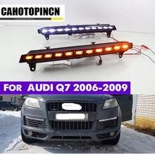 1 conjunto de drl para audi q7 2006 2007 2008 2009 luz do dia do carro led drl luzes diurnas nevoeiro cabeça capa da lâmpada com sinal volta luz