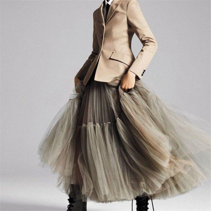 FOLOBE Women Elegant Black Mesh Tulle Pleated Panelled Long Skirt Sweet Girl Tutu Elastic High Waist Maxi YFS040155