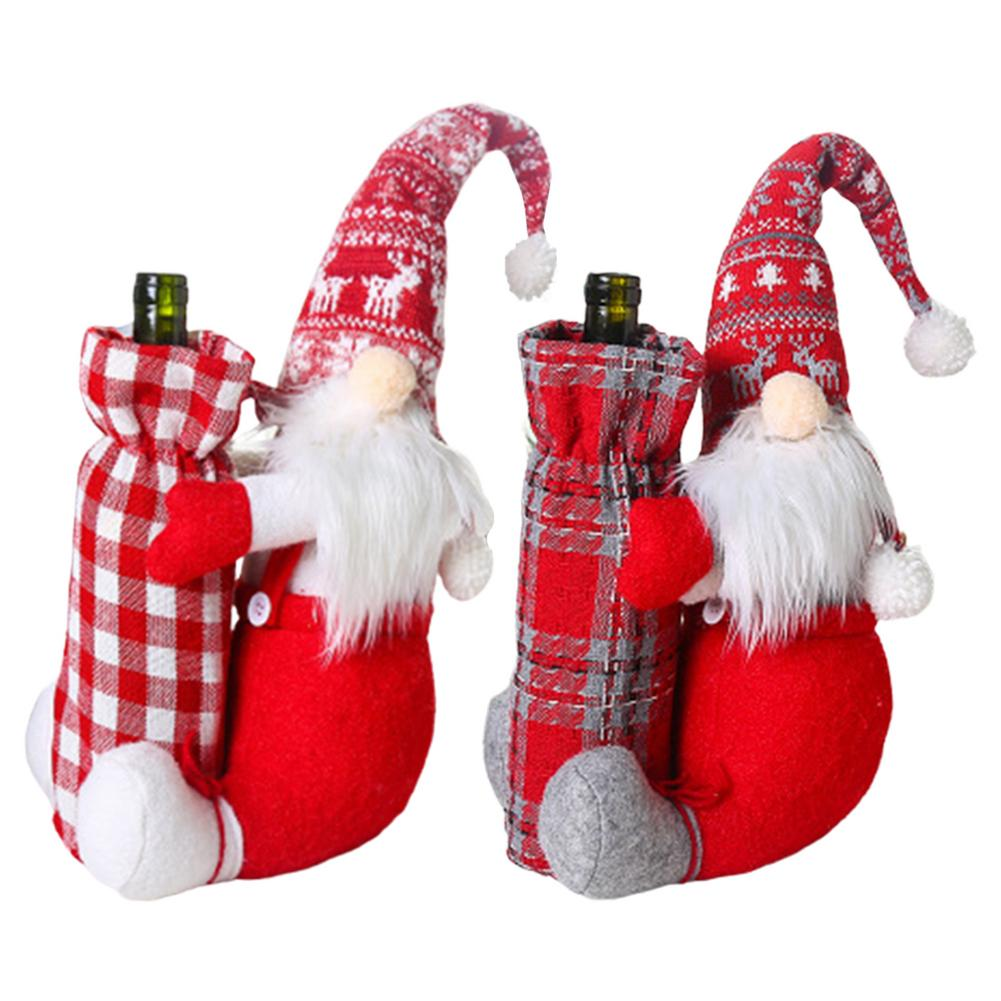 Glorious Christmas Wine Bottle Cover Santa Gnome Wine Bottle Wrap Kitchen Decoration For New Year Dinner Bottle Decor Party Ornament With The Best Service