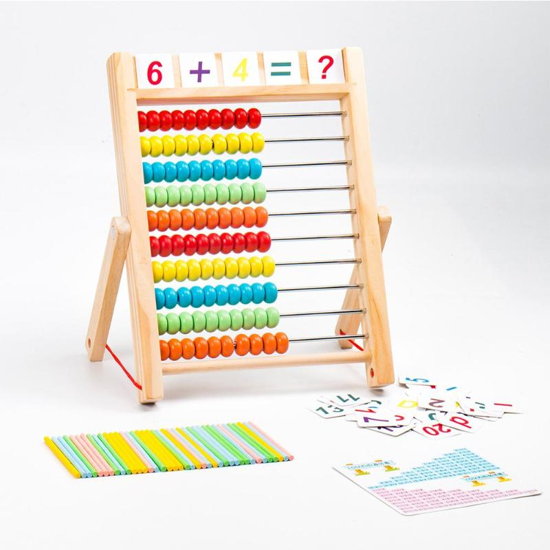 Unisex Children Computing Rack Wooden Abacus Educational Arithmetic Math Kid Toy Developing Mathematics Interest Ability