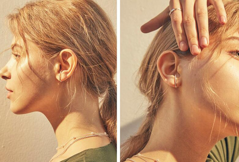 1pair INS minimalist 100% Authentic 925 Sterling silver White/ Gold EAR Cuff ear earrings FINE jEWELRY TLE634
