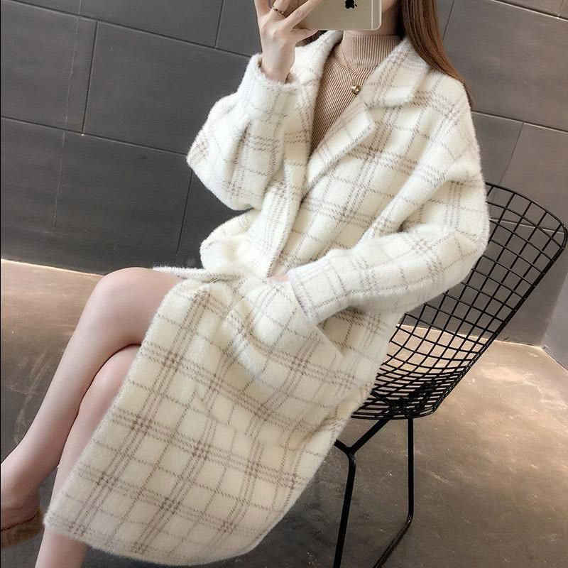 2019 New Korean Imitation Mink Velvet Sweater Women's Jacket Loose Long Knitted Cardigan Coat Autumn Winter Plaid Outwear f1676