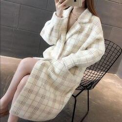 Nuevo suéter coreano de imitación de visón abrigo Otoño Invierno chaqueta de mujer suelta larga de punto Cardigan abrigo largo a cuadros f1676