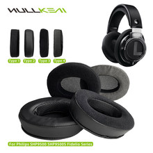 Nullkeai Replacement Earpads for Philips SHP9500 SHP9500S Fidelio Series Headphones Thicken Leather Velvet Velour Earmuff