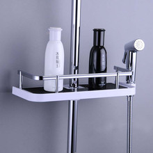 Yooap No Drilling Bathroom Soap Rack with Shower Shelf Fit 19mm-25mm Rail Organizer Holder-Rectangle
