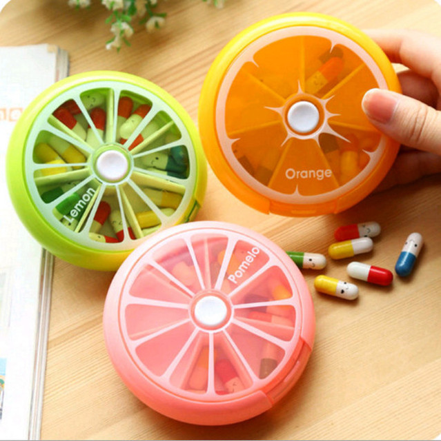 Kreatywny tygodniowe obrotowe pudełko na pigułki na tabletki w podróży przypadku Splitter pojemnik na leki apteczka Cutter 7 dzień pojemnik na pigułki na pigułki