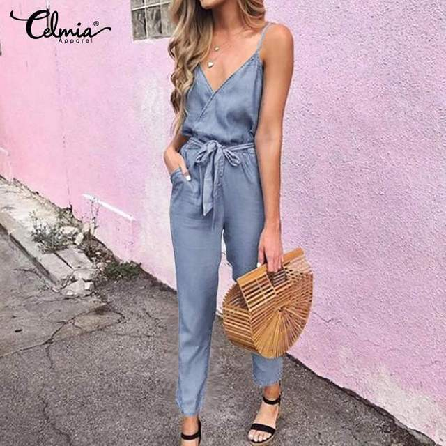 Sexy Spaghetti Straps Summer Jumpsuits Women's Denim Playsuits Celmia 2019 Summer V-neck Casual Belted Jaens Plus Size Overalls