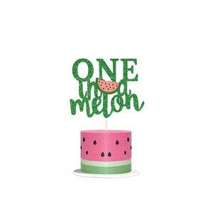 Image 3 - Leeiu owoce motyw arbuz Party dekoracji najlepszego z okazji urodzin banery arbuz ciasto wykaszarki Baby Shower 1st Birthday Party Supplies