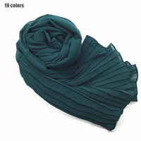 19pcs one set Chiffon Plain solid pleated side scarf hijab fashion wrap bandana muslim echarpe wraps muffler