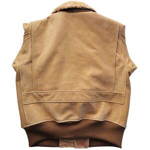Image 5 - Chaqueta de cuero para hombre, 100% gruesa, piel de becerro, acolchada, con cuello de piel Natural, chaqueta de cuero desgastado Vintage, abrigo cálido para invierno, M253
