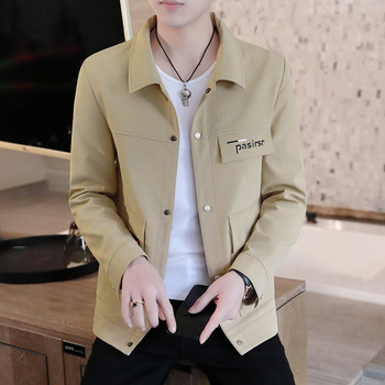 Spring Men's Casual Coat Single Breasted Lapel Solid Color Male Jacket Khaki Blue Green Black Gray Outwear B9