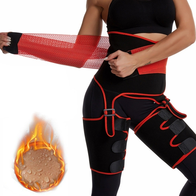 Hot 2 in 1 Waist Trainer and Thigh Trimmer Double Compression Belt Leg Support Sweat Sauna Effect 1
