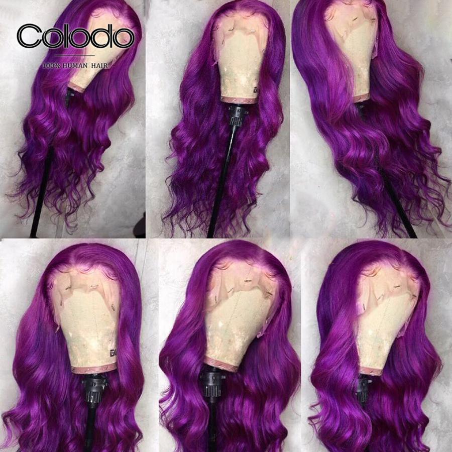 COLODO Purple Lace Front Wig Preplucked Brazilian Remy Hair Colored Human Hair Wigs Body Wave Lace Front Wig With Baby Hair
