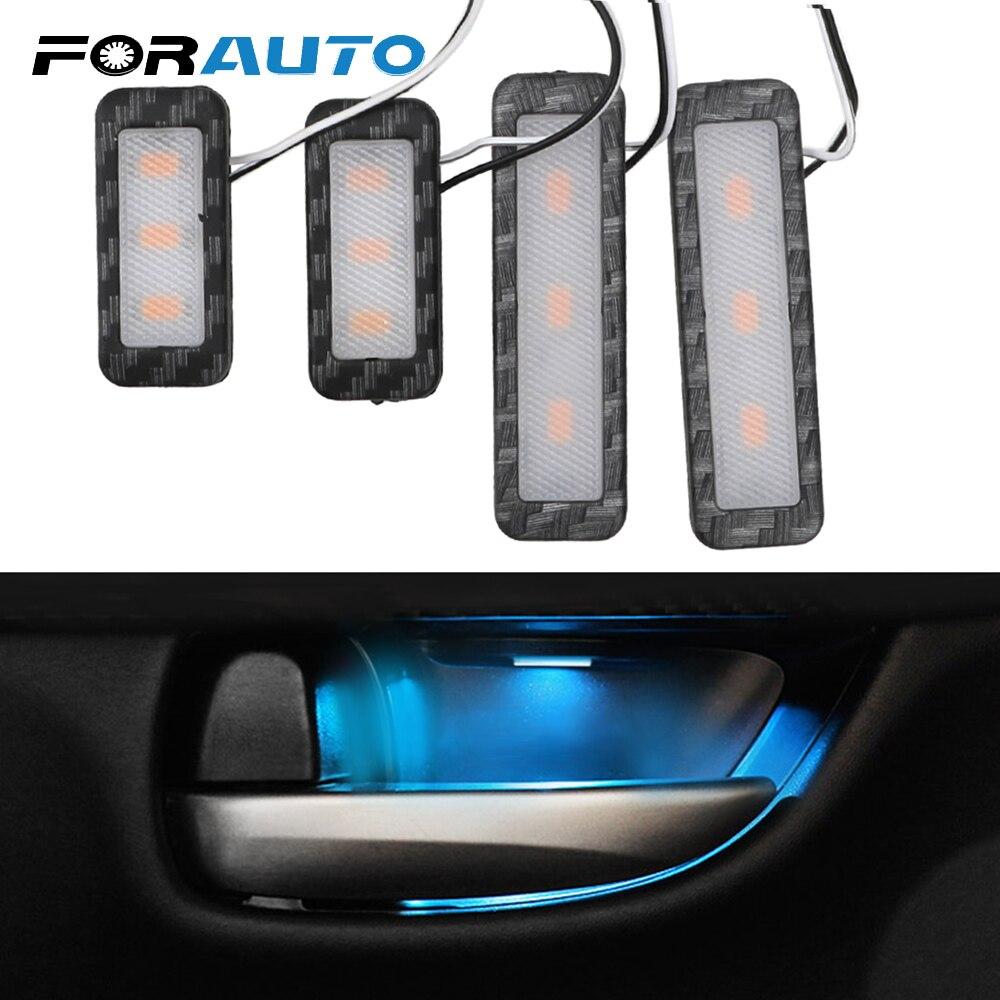 FORAUTO 4pcs Car Inner Door Bowl Light Armrest Interior Door Handle Lighting Auto Atmosphere Lamp Car Ambient Decorative Lights