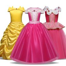 Śpiąca królewna Bella fantazyjne dzieci księżniczka sukienka na kostium Cosplay na Halloween sukienka na ramię do kostek dziewczyny ubrania tanie tanio Aini Babe Poliester Woal Mesh Crew neck REGULAR Bez rękawów Nowość Pasuje prawda na wymiar weź swój normalny rozmiar