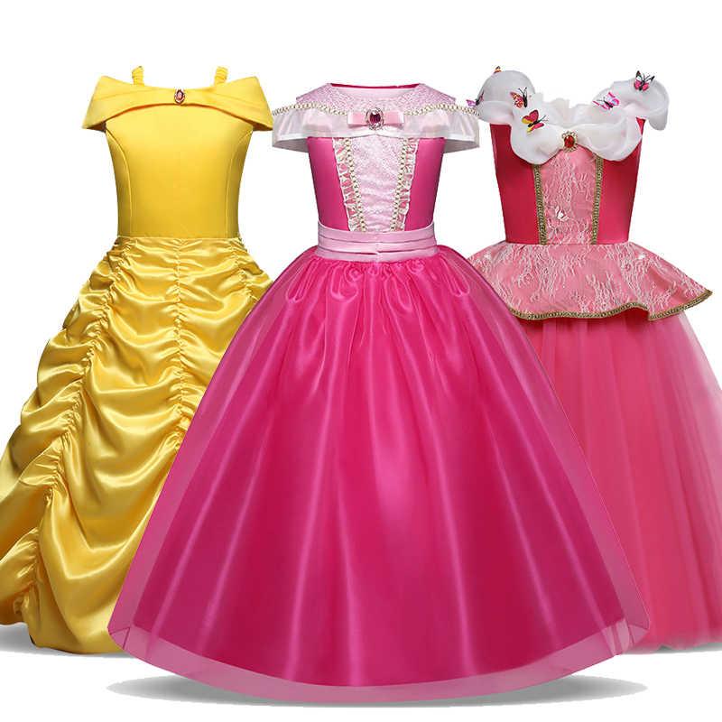 Uyku güzellik Bella fantezi çocuk prenses elbise cadılar bayramı Cosplay kostüm için omuz ayak bileği uzunluğu kız elbise