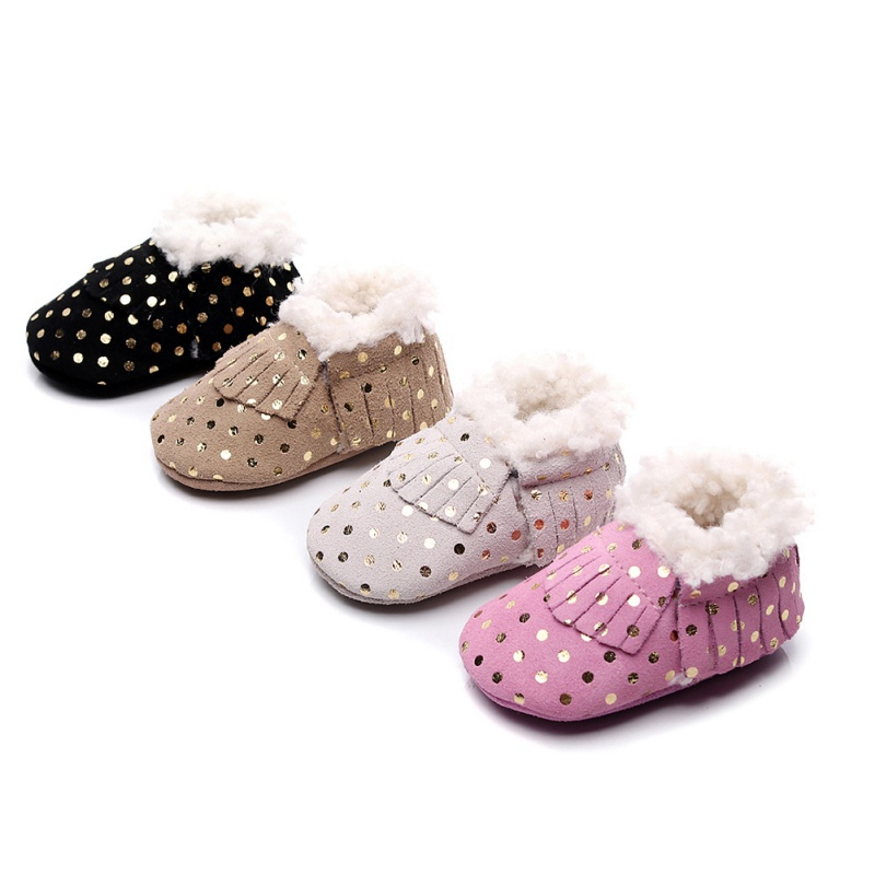 Baby Boots Winter Warm Soft Soled Snow Boots Baby Boys Girls Tassel Anti-Slip Booties Newborn Infant Cotton Plush Shoes Sale