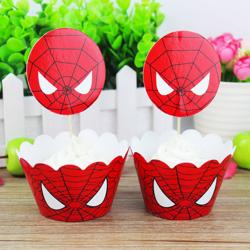 Disposable Tableware Spiderman Theme Cake Toppers Cupcake Wrappers Birthday Party Cake Decoration Baby Shower Party Supplies