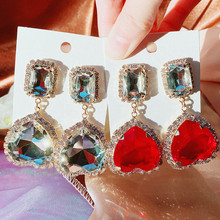 MENGJIQIAO-pendientes colgantes de cristal con forma de corazón para mujer y niña, aretes cuadrados elegantes con diamantes de imitación, joyería para fiesta