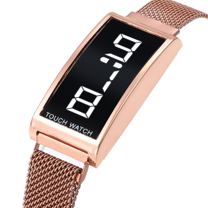 Full Stainless Steel Digital Clock For Children Watch Touch Screen Electronic Kids Clock Super Fashion Student Boy Girl Watches