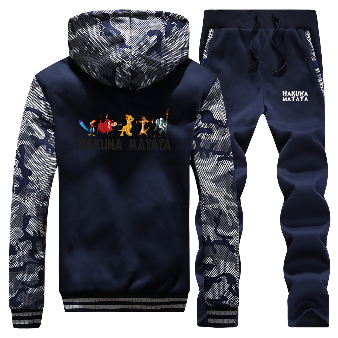 Cartoon Printed New Winter Men Hoodie Sportswear The Lion King Camouflage Coat Thick Long Sleeve Suit Jacket+Pants 2 Piece Set