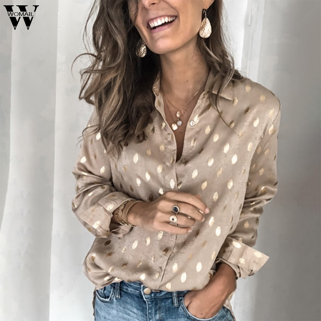 >Womail Blouse Women Fashion Long Sleeve Vneck Shirt Elegant Office Blouse Loose Casual <font><b>Dot</b></font> print Gold Button Korean Workwear <font><b>top</b></font>