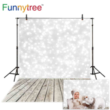 Funnytree photography backdrop christmas white bokeh spots wood floor newborn baby photo studio background photophone photocall