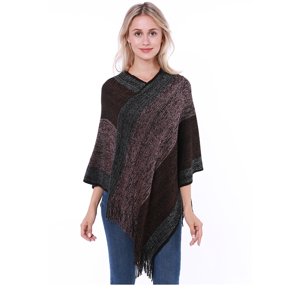 2019 New Women Striped Poncho Capes Knitted Scarf Woman Fashion Poncho Tassel Pullover For Woman Shawl