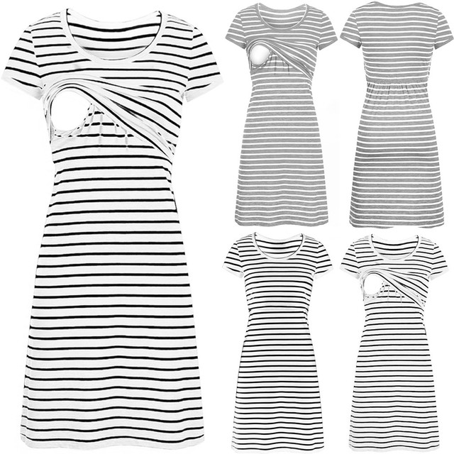 Dress For Pregnant Women Summer Women O-neck Pregnant Nursing Maternity Short Sleeve Stripe Summer Dress Breastfeeding Clothes 1