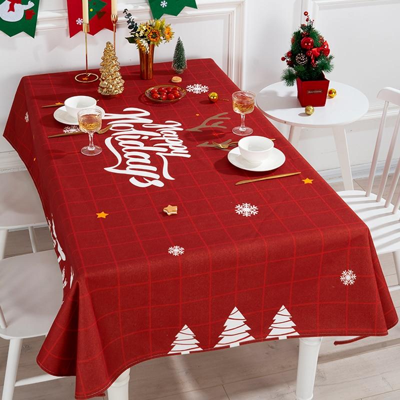Nordic Red Grid Tablecloth Rectangular Cotton Linen Tea Table Cover Home Decor