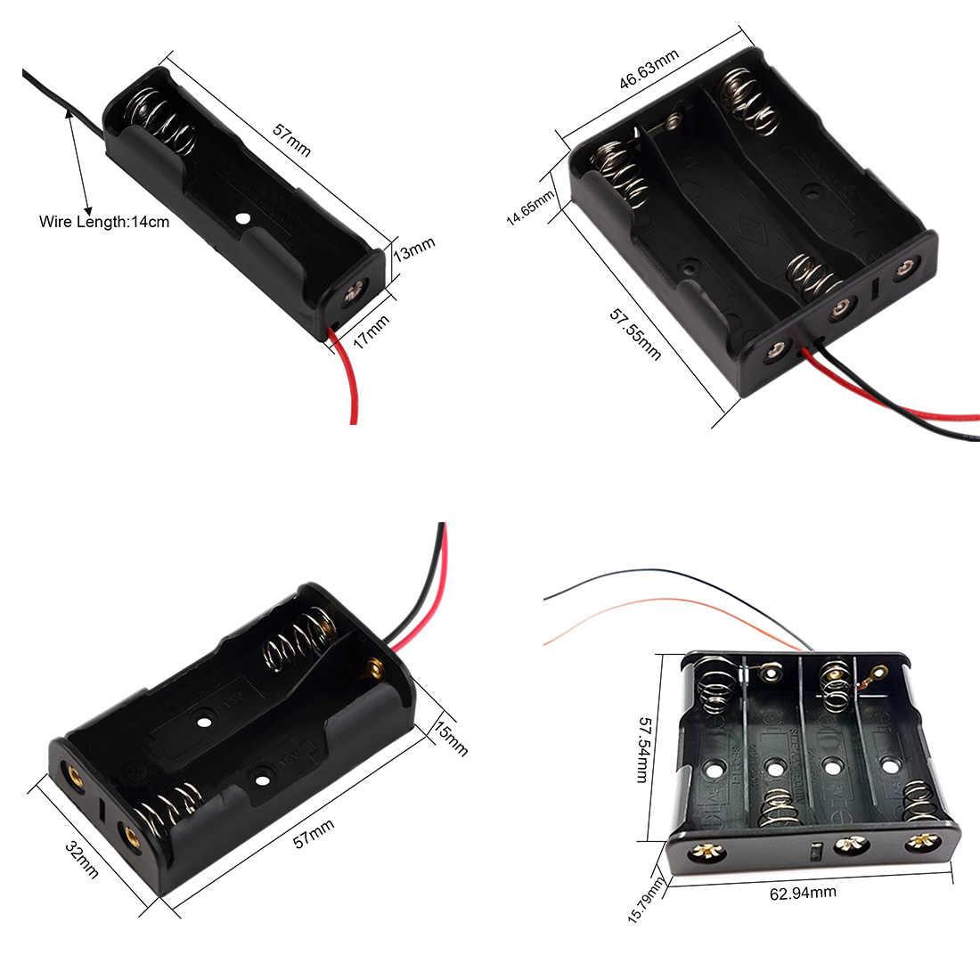 1 قطعة بطارية حامل البطارية الحال بالنسبة 1/2/3/4 قطعة AA 1.5 فولت حافظة بطاريات الجافة صندوق كابل طويل مشبك بطارية موصل مشبك