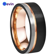 Мужская Женская обручальное кольцо из карбида вольфрама черное розовое золото с офсетным желобком и кистью