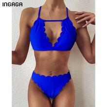 INGAGA-Conjunto de Bikini de cintura alta para mujer, bañador negro, trajes de baño con aumento, Bikini festoneado con tirantes, ropa de playa con cuello Halter 2021