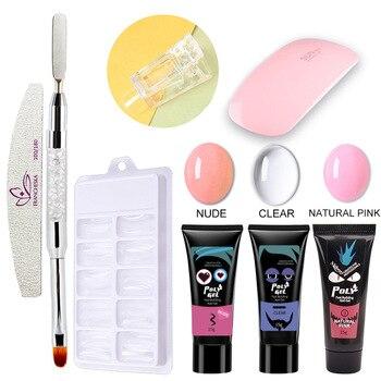 6 uds uñas de extensión de puntas uñas de Gel Kits claro UV LED lámpara de uñas de Gel polaco Kit de remojo manicura herramientas