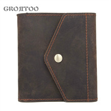 GROJITOO Genuine Crazy Horse Leather Wallet For Men and Women  Bifold Short Wallets With Credit Card Holder Vintage Purse