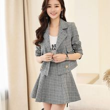 Britse Mode Womens Plaid Blazer Mini Rok Ol Outfits Pak Elegante Dame Double Breasted Jassen Ensemble Femme Slim Fit Set(China)