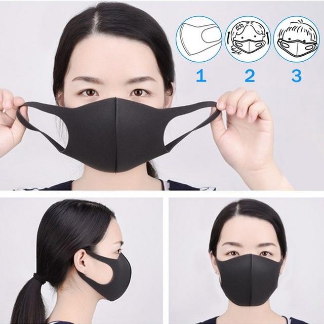 3PCS Black PM2.5 Washable Mouth Mask Anti Haze Dust Mask Nose Filter Windproof Face Anti Bacteria Flu Fabric Cloth Respirator 2