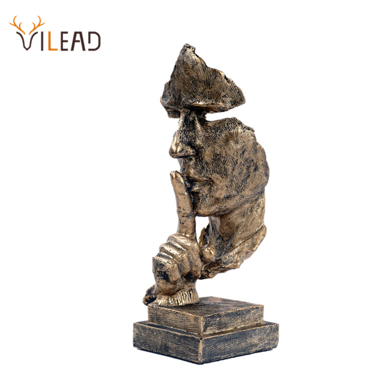 VILEAD 27cm Resin Silence is Golden Mask Statue Abstract Ornaments Statuettes Sculpture Craft for Office Vintage Home Decoration